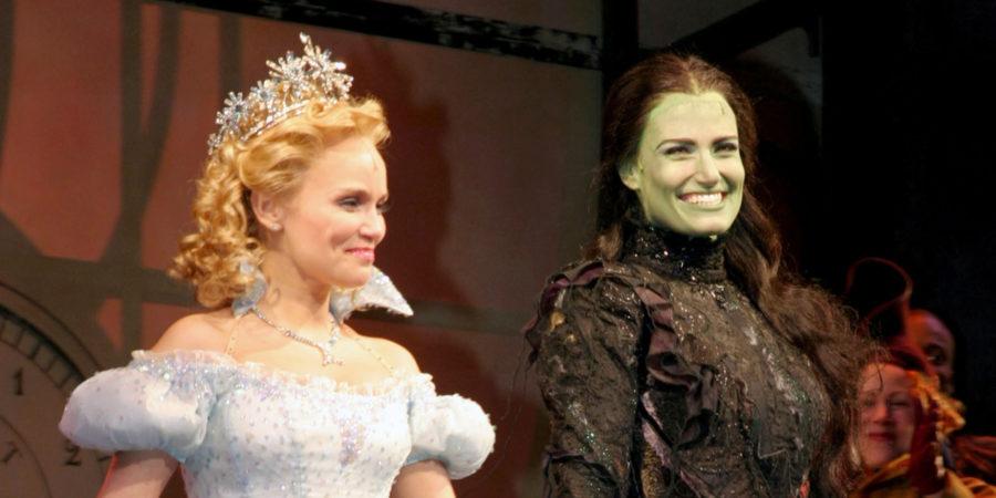 Kristin Chenoweth and Idina Menzel at curtain call (Photo by Bruce Glikas/FilmMagic)